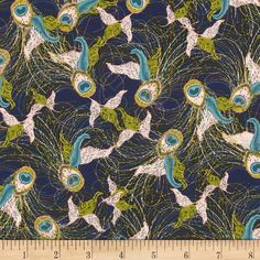 Art Gallery Splendor 1920 Flights of Fancy Night from @fabricdotcom  Designed by Bari J. Ackerman for Art Gallery, this cotton print fabric is perfect for quilting, apparel and home decor accents. Art Gallery Fabric features 200 thread count of finely woven cotton. Colors include pale pink, olive, teal and a navy background.
