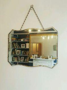 Vintage Art Deco Beveled Mirror Frameless Over Mantle Retro London Mantle Mirror, Mirror Mirror, Elephant And Castle, Art Deco Mirror, Mirrors For Sale, Mirror Ideas, Beveled Mirror, Portobello, Art Deco Fashion