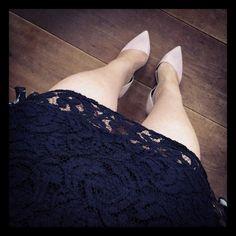 """""""Its a lace dress and nude pumps kinda day #kickingtoday #fashion #shoes #shoeporn #shoesoftheday #heels"""""""