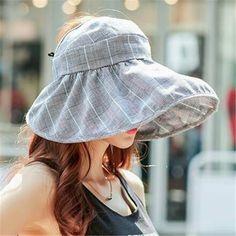Casual plaid sun visor cap for women UV packable wide brim summer hat travel 67911a616741