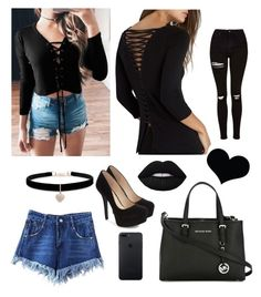 """""""Black outfit"""" by sophie01234 ❤ liked on Polyvore featuring Topshop, WithChic, Jessica Simpson, Bailey 44, Brika, Betsey Johnson, MICHAEL Michael Kors and Lime Crime"""