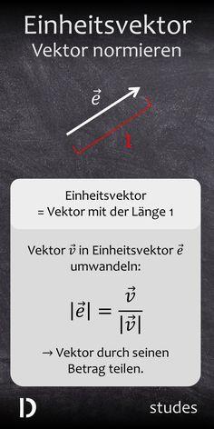 Der Einheitsvektor ist ein Vektor mit der Länge bzw. dem Betrag 1. Jeder Vektor kann durch Normierung in einen Einheitsvektor umgewandelt werden, indem durch seinen Betrag geteilt wird. Mehr dazu im Video | studes