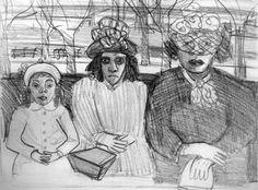 ALICE NEEL Three Women on a Bus, 1940 Pencil on Paper