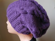 Hand Knit Slouchy Beanie Hat Acrylic Purple Plum $26
