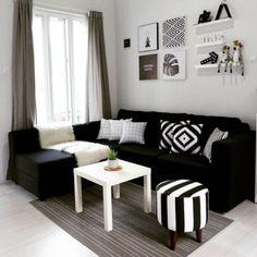 Fancy Sofa Design Ideas For Minimalist Living Room To Try, Living Room Sofa, Home Living Room, Apartment Living, Interior Design Living Room, Living Room Designs, Black Sofa Living Room Decor, Apartment Couch, Apartment Furniture, Bedroom Decor