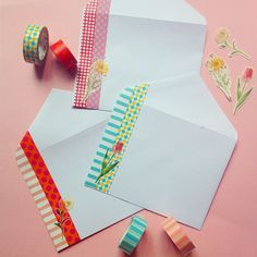 Envelopes are the best blank canvases. #sendprettymail #washitape #omiyageinaction Make Envelopes, Handmade Envelopes, Mail Art Envelopes, Decorated Envelopes, Addressing Envelopes, Envelope Punch Board, Snail Mail, Washi Tape Cards, Washi Tape Diy