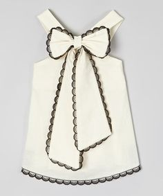 Another great find on #zulily! Ivory & Black Scalloped-Lace Top - Infant, Toddler & Girls #zulilyfinds