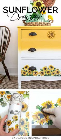 Sunflower Transfer Dresser Makeover - Salvaged Inspirations Diy Furniture Projects, Furniture Making, Craft Projects, Painted Furniture For Sale, Refinished Furniture, Singer Sewing Tables, Painted Kitchen Tables, Chalk Paint Colors, Dixie Belle Paint