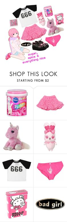 """""""the sweetest lil demon"""" by corpsebabydoll ❤ liked on Polyvore featuring HIDE, Pink Vanilla, LILI GAUFRETTE, O-Mighty, Creep Street and Hello Kitty"""