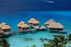 Overwater Bungalows in Tahiti.