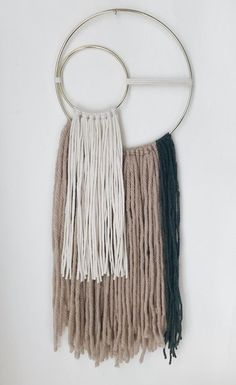 Items similar to mauve and cream hoop wall hanging / wall tapestry / wall art on Etsy Yarn Wall Art, Yarn Wall Hanging, Diy Wall Art, Diy Art, Wall Hangings, Wall Hanging Designs, Mauve, Macrame Projects, Macrame Patterns