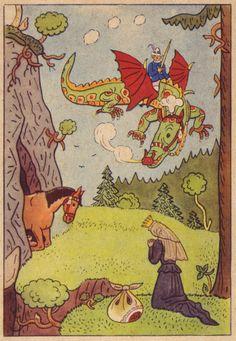 Josef Lada 1946 vintage children's book illustration medieval fairy tale fantasy with dragon