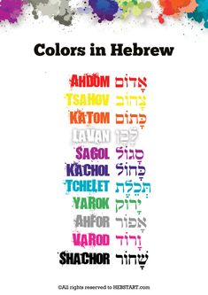 A decorative poster of the colors in Hebrew Learn the colors in Hebrew! If you created or you know people who created teaching tools, send them our way. Learn Hebrew Alphabet, Jewish Beliefs, Hebrew Writing, Hebrew School, Hebrew Words, Bible Knowledge, Word Study, Teaching Tools, Colors