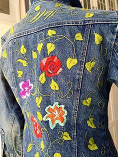 Bordada a mano Vintage Jean chaqueta / chaqueta de mujer