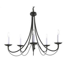 @Overstock.com - Versailles 5-light Black Wrought Iron Chandelier - Draping, curvy lines are constructed with wrought iron and finished in black to add elegance to this Versailles chandelier. Five lights are accented by small, braided metal accents for a contemporary touch.  http://www.overstock.com/Home-Garden/Versailles-5-light-Black-Wrought-Iron-Chandelier/8959934/product.html?CID=214117 $86.99