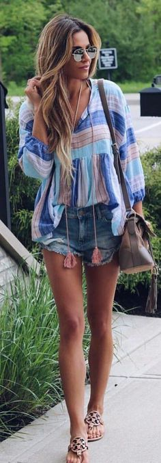 #summer #outfits  Printed Blouse + Denim Short + Grey Leather Shoulder Bag
