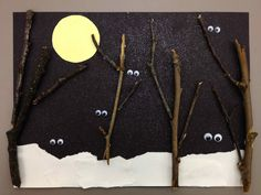 Nocturnal storytime and night animals craft - googly eyes on black paper