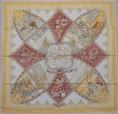 Auth HERMES MINT  La Vie a Cheval  Yellow Silk Scarf 2311
