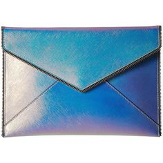Rebecca Minkoff Leo Clutch (Opal Iridescent) found on Polyvore featuring bags, handbags, clutches, bolsas, rebecca minkoff, snap closure purse, iridescent handbag, blue purse and rebecca minkoff clutches