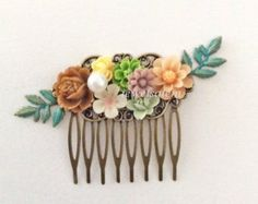 Autumn Wedding Hair Comb Sage Green Brown Olive Taupe Beige Ivory Floral Bridal Headpiece Woodland Flower Hair Pin Fall Shabby Chic Boho WR