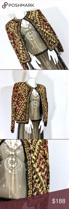 Tan- Chho Rose Gold Checkered Sequins Jacket This jacket or cardigan is such a masterpiece. From gold to rose gold to greens the checkered sequin pattern is breathtaking. This is a vintage piece but I have to say, it is in amazing condition, like nothing I have seem before. Many ways to wear this but holidays parties are going to be your best first date wearing this. Size M fits a 6-8. Shoulder pads are on but you can easily removed the if you like. 😍 Dress in picture for sale in my closet…