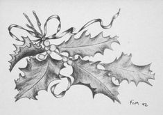 Holly Charcoal Pencil Drawing Christmas Card by KMHanksArt on Etsy Drawings christmas Items similar to Holly Charcoal Pencil Drawing Christmas Card - Notecard, Christmas Card, Holiday Greeting, Card on Etsy Christmas Scene Drawing, Easy Christmas Drawings, Christmas Sketch, Christmas Art, Xmas Drawing, Wall Drawing, Christmas Nativity, Christmas Items, Winter Christmas
