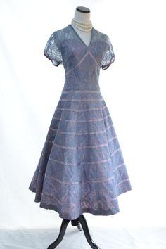 Romantic Lavender Lace Dress // 50s Vintage Dress by CoolMintMoon
