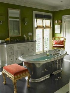 The Green Walls In This Bathroom By Mary McDonald Feel Rich And Luxurious