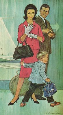 """""""Same old vacation year after year? This year, take a travel vacation!"""" Detail from 1963 Boeing ad Vintage Children's Books, Vintage Ads, Vintage Images, Vintage Looks, Vintage Housewife, Modern Love, Retro Art, Lady And Gentlemen, Vintage Travel Posters"""