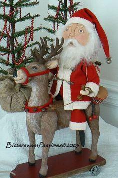 Santa on Reindeer Pull Toy for Bittersweet Pastimes Primitive Santa, Primitive Folk Art, Primitive Crafts, Christmas Decorations, Christmas Ornaments, Holiday Decor, Christmas Patterns, Christmas Moose, Christmas Stuff