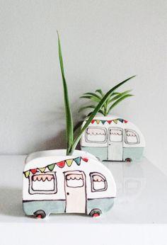 Handmade Ceramic Caravan Planters | JulieRichardCeramist on Etsy