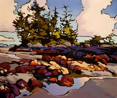 Chesterman Beach, by Mike Svob - architektur Colorful Paintings, Cool Paintings, Landscape Art, Landscape Paintings, Illustration Artists, Illustrations, Art For Art Sake, Canadian Artists, Tree Art