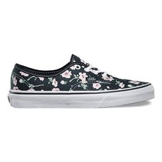 Vans The Vintage Floral Authentic combines the original and now iconic Vans low top style with an allover print, sturdy canvas uppers, metal eyelets, and signature waffle rubber outsoles.