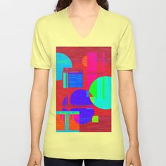 Re-Created  Building Blocks IV V-neck T-shirt by Robert S. Lee - $24.00