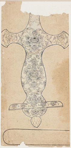 Design for a Sword Hilt (Indian Tulwar) from the Museum of Fine Arts Boston 18th–19th century DIMENSIONS 20 x 9.5 cm (7 7/8 x 3 3/4 in.)  MEDIUM OR TECHNIQUE Ink and light color on paper Provenance Given to the MFA by Denman Waldo Ross in 1917; purchased from Ananda Coomaraswamy in 1917; purchased in India prior to 1916. Credit Line Ross-Coomaraswamy Collection