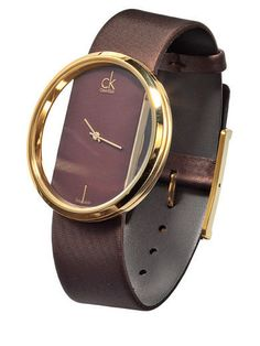 CK leather watch with clear dial