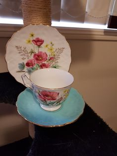 AYNSLEY ~ Pattern 31 Floral Blue Tea Cups, China, Tableware, Floral, Pattern, Blue, Collection, Dinnerware, Dishes