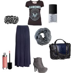 Love this combination of colors, deep navy, grey and metallics. This is a comfortable casual day look great for fall. I would pair this with a messy top knot.