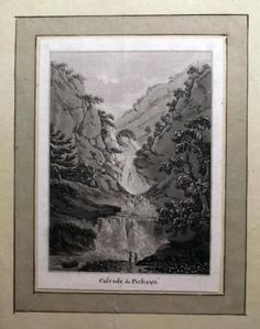 1776 Rosenberg Aquatint Cascade du Pichoux JURA SWITZERLAND wash SUISSE