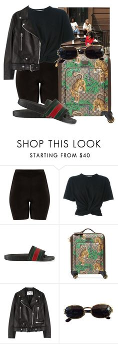 """BAS- Vacation"" by sheeiara2 ❤ liked on Polyvore featuring T By Alexander Wang, Gucci, Acne Studios and Versace"