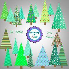 Christmas Tree Digital Clip Art Pack by LittleShopofColor on Etsy, $4.00