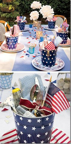 cute july 4th picnic table setting - stars  stripes