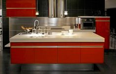 Two Tone Kitchen Cabinets Ideas Concept, with modern door design and painted with combining color like in this images picture, Modern minimalis orange Kitchen Cabinet set (recommended picture) Kitchen Cabinets Units, European Kitchen Cabinets, Kitchen Cabinets Pictures, European Kitchens, Kitchen Cabinet Design, Spanish Kitchen, Updated Kitchen, Contemporary Kitchen Interior, Orange Kitchen