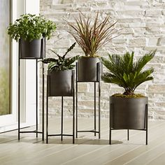Sale ends soon. Shop Dundee Bronze Floor Planter with Short Stand. Handcrafted iron planters with warm antiqued bronze finish are framed inside an architectural stand with slender legs and tripod crossbar supports. Crate And Barrel, House Plants Decor, Plant Decor, R Cafe, Herb Garden Design, Garden Tools, Decoration Plante, Patio Accessories, Outdoor Planters