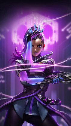 Overwatch Sombra Purple Game Hero Illustration Art iPhone 8 Wallpapers
