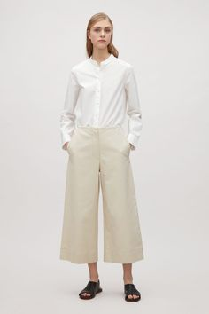 Cotton twill culotte trousers - Calico Beige - Trousers - COS ES