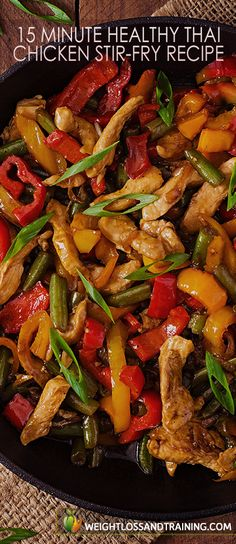 15 Minute Healthy Thai Chicken Stir-Fry Recipe https://weightlossandtraining.com/15-minute-healthy-thai-chicken-stir-fry-recipe #healthyrecipe #cleaneating