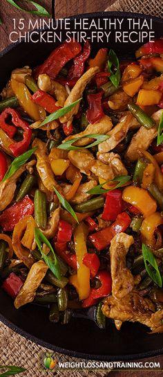 15 Minute Healthy Thai Chicken Stir-Fry Recipe https://weightlossandtraining.com/15-minute-healthy-thai-chicken-stir-fry-recipe #healthyrecipe #cleaneating
