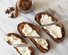 Crave dessert for breakfast? Try this chai apple butter ricotta toast recipe by . Yogurt Breakfast, Breakfast Recipes, Chai Recipe, Tasty, Yummy Food, Spiced Apples, On Repeat, Apple Butter, Whole Food Recipes