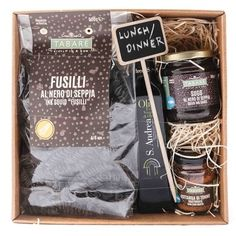 Lunch Box  Prepare from your kitchen and taste on your tables a typical Sicilian lunch or dinner!  #pasta #sauce #conserve #condiment #fishproduct #fusilli #oliveoil #sicily #sicilianfood #food #cuisinesicilienne #siciliancuisine #gift #giftbox